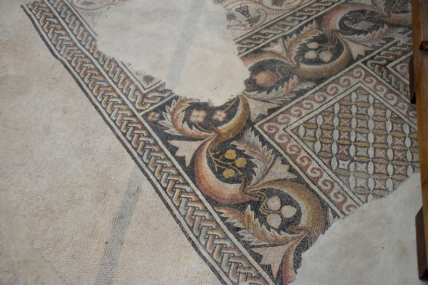 Byzantine mosaic on the floor of the Church of the Nativity in Bethlehem.