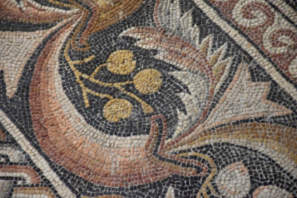 This is a close-up of the Byzantine floor mosaic in the Church of the Nativity in Bethlehem.