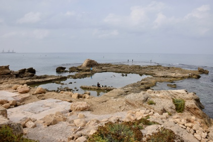 The square in the center is believed to be a swimming pool in Herod's palace at Caesarea